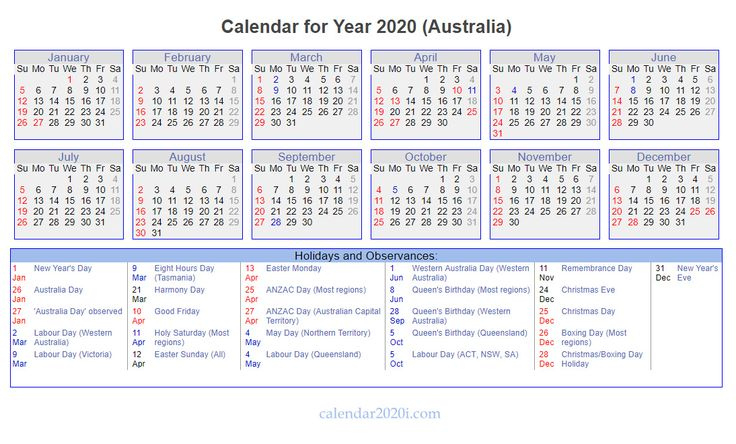 Australia 2020 Holidays Calendar   Holidays Calendar, 2020 December 2020 January 2021 Calendar Australia