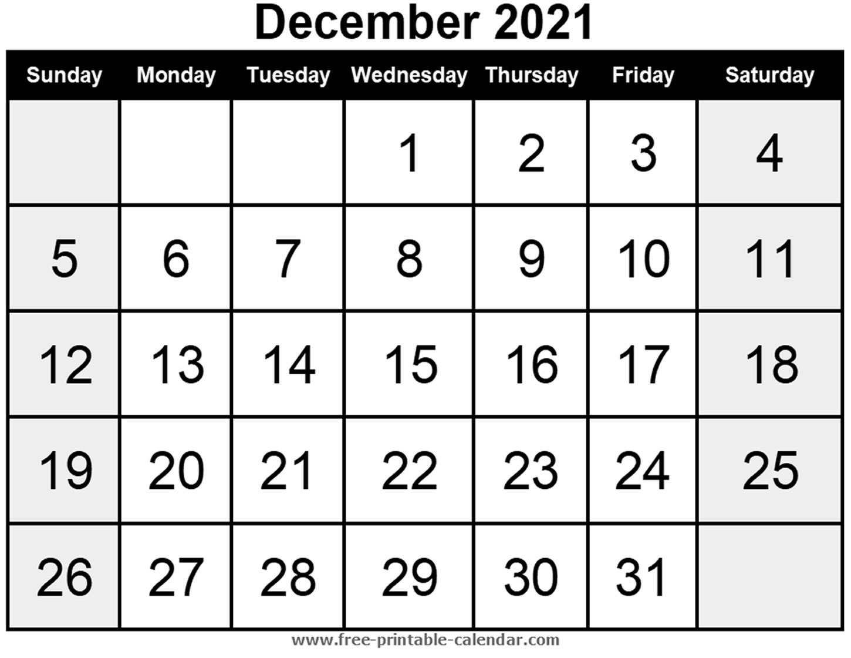 Blank Calendar December 2021 - Free-Printable-Calendar December Calendar Of 2021