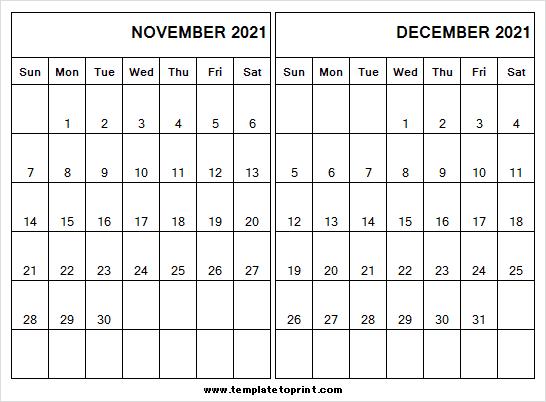 Blank Calendar November December 2021 - 2021 Calendar Free Blank December 2021 Calendar