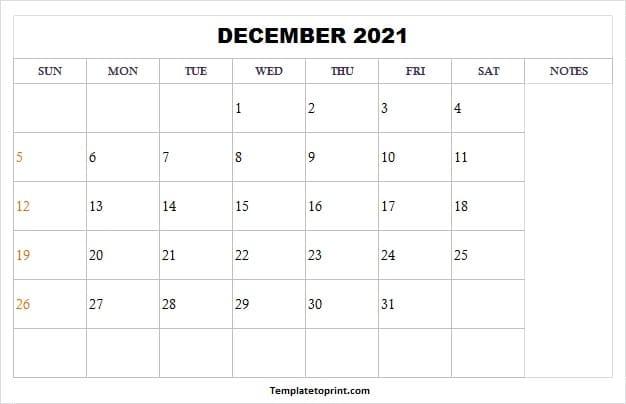Blank December 2021 Calendar Template - 2021 Printable Blank December 2021 Calendar