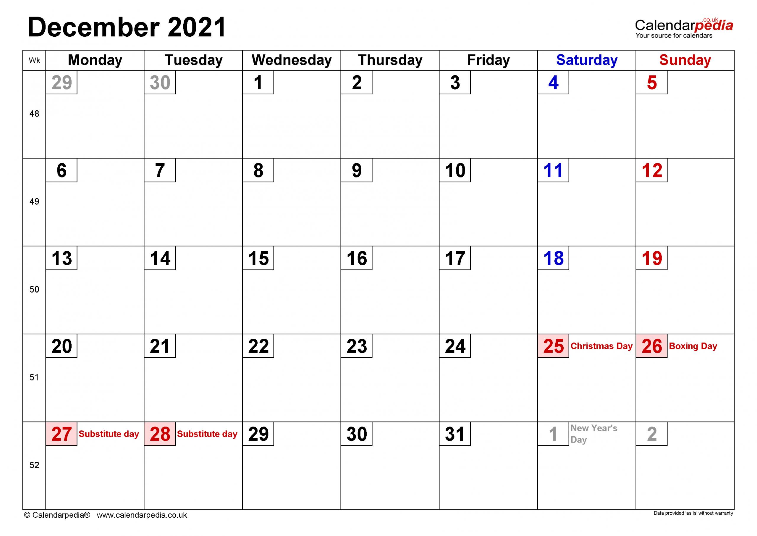 Calendar December 2021 Uk With Excel, Word And Pdf Templates December 2021 Calendar Printable Free