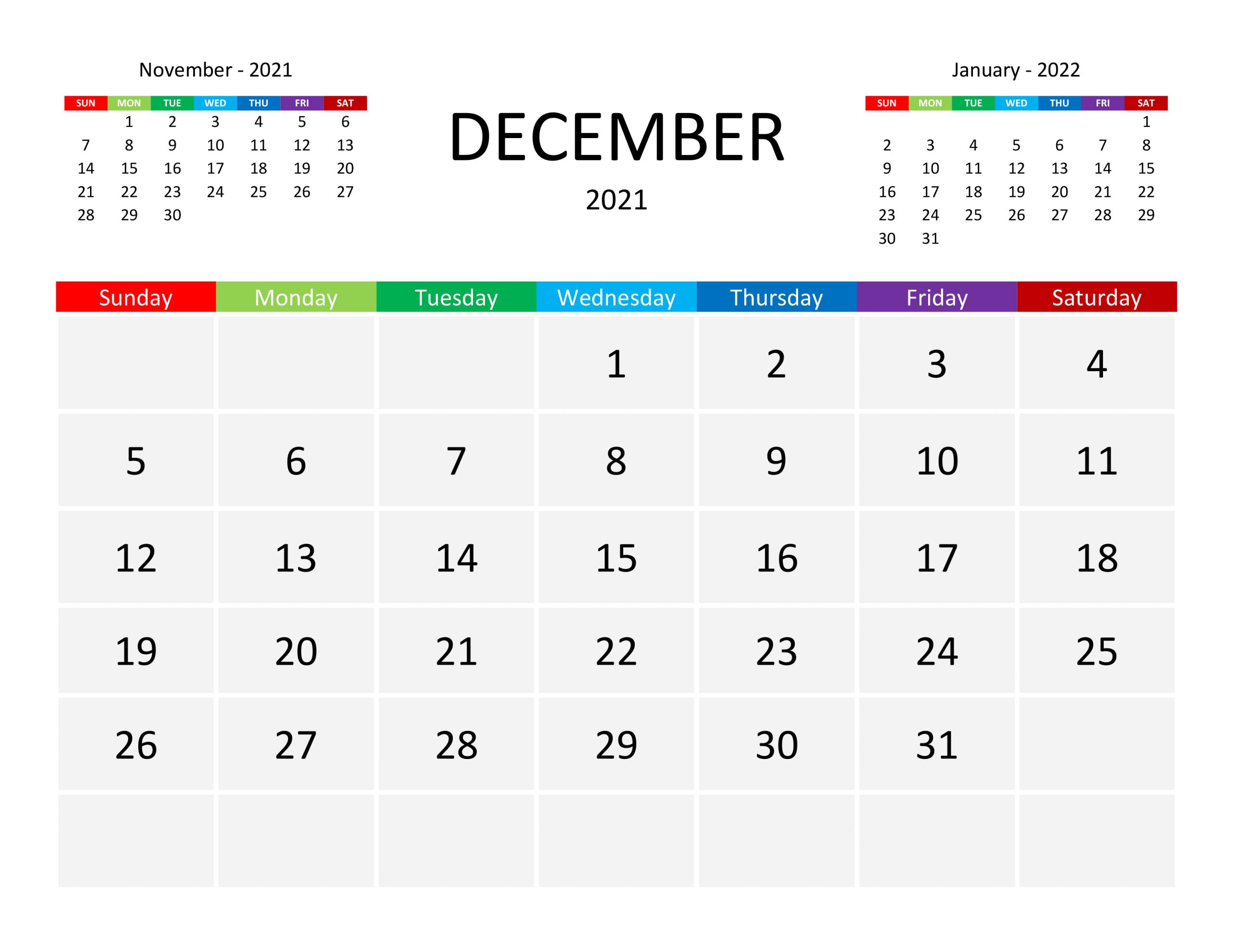 Calendar For December 2021 - Free-Calendar.su December Calendar Of 2021