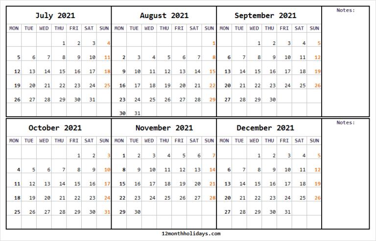 Calendar July To December 2021 - Printable 2021 Calendar Free Blank December 2021 Calendar