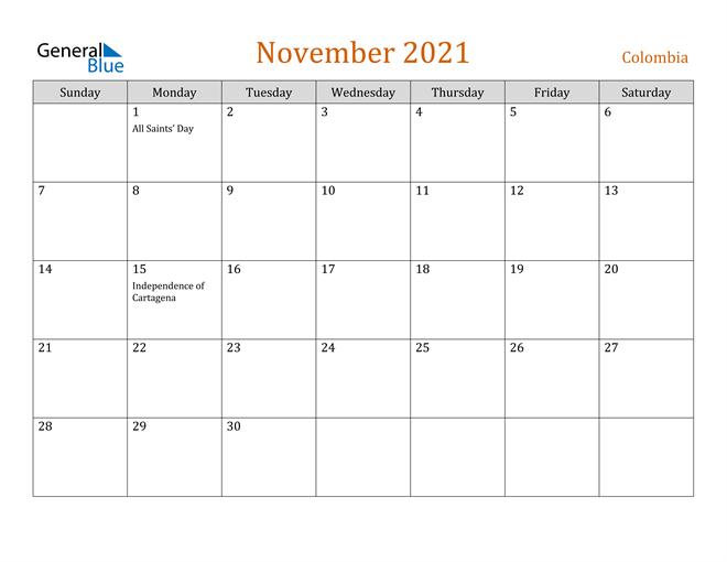Colombia November 2021 Calendar With Holidays 2021 Ka Calendar November