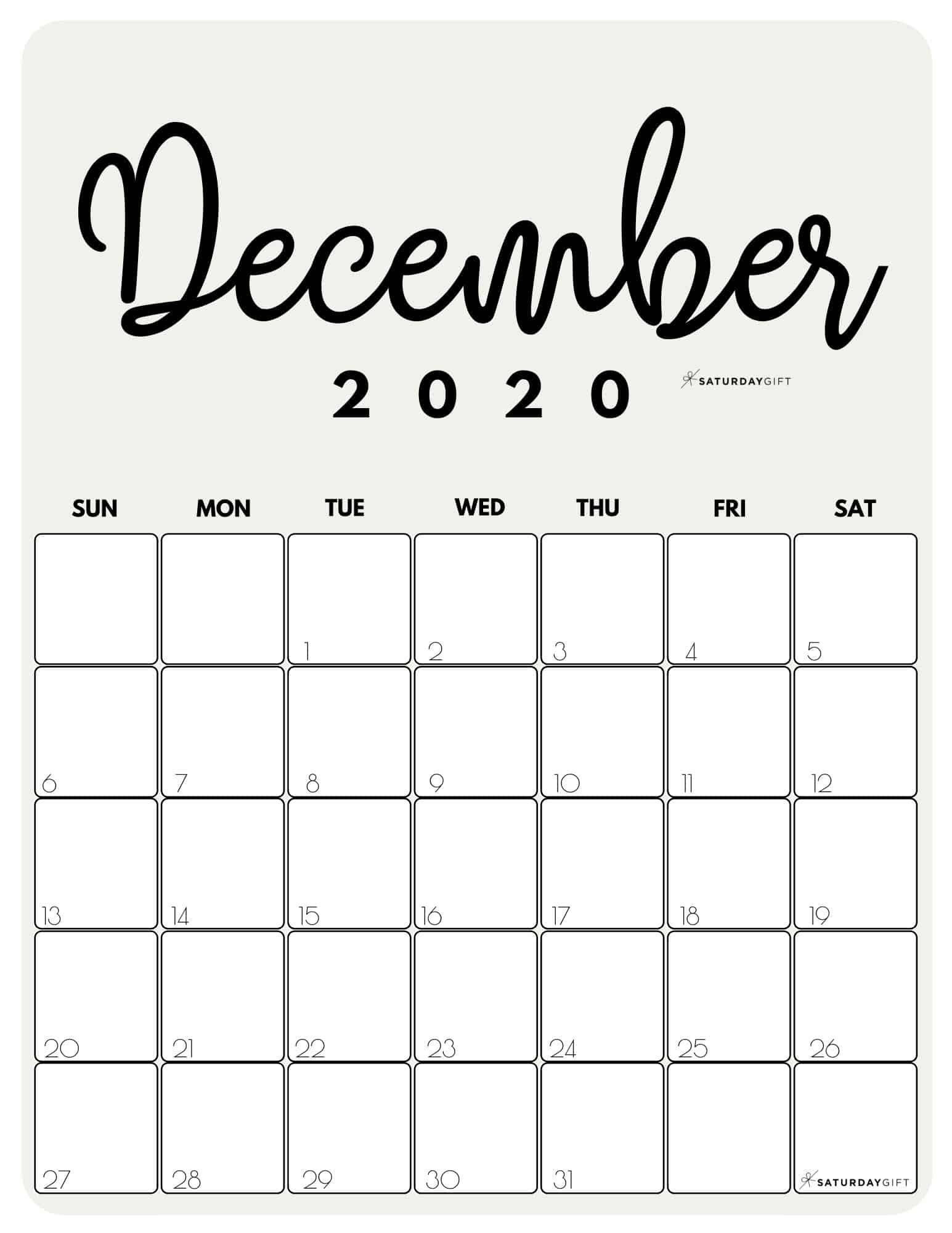 Cute (& Free!) Printable December 2021 Calendar Blank December 2021 Calendar