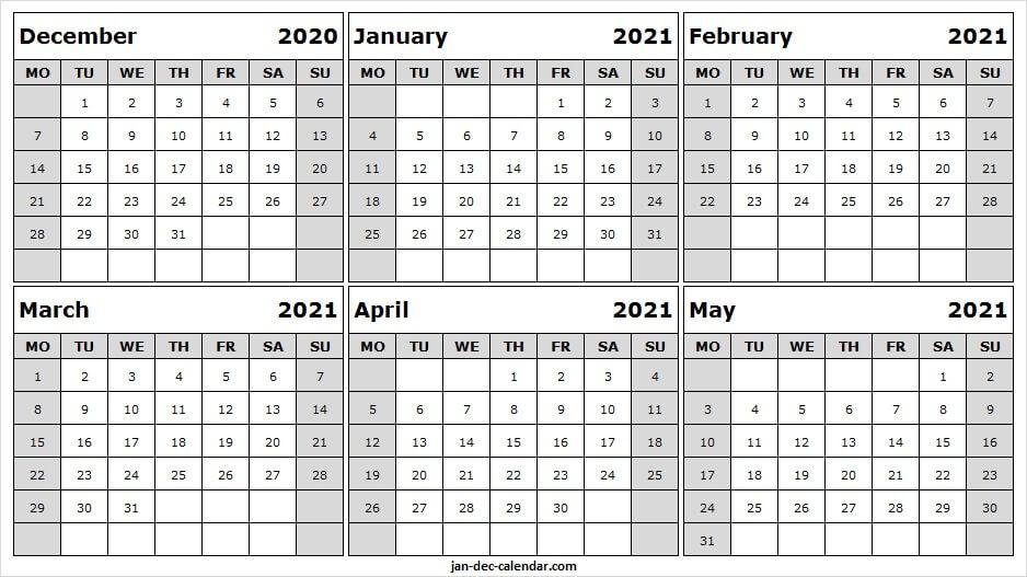 December 2020 To May 2021 Blank Calendar - Month Of Dec 2020 December 2020 And Jan 2021 Calendar