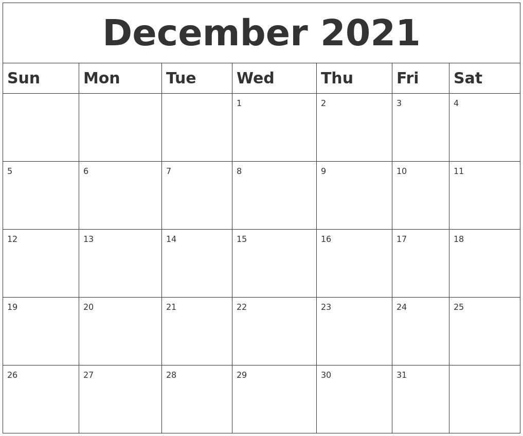 December 2021 Blank Calendar Blank December 2021 Calendar