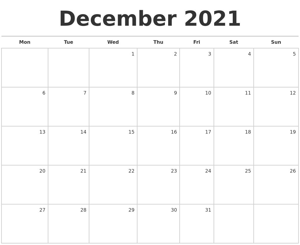December 2021 Blank Monthly Calendar Blank December 2021 Calendar
