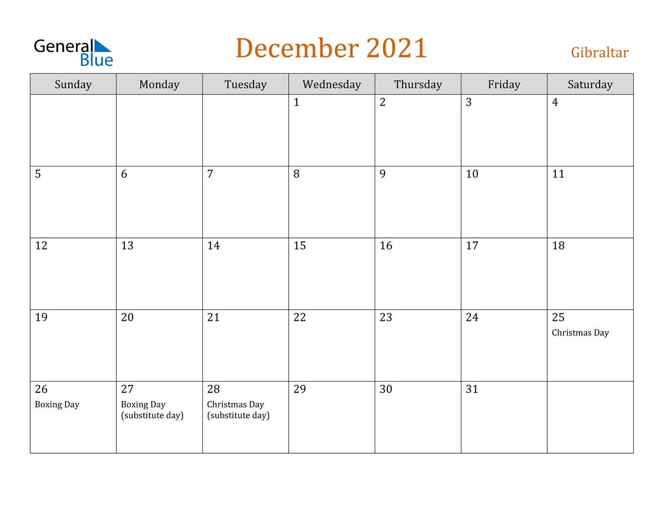 December 2021 Calendar - Gibraltar December Calendar Of 2021