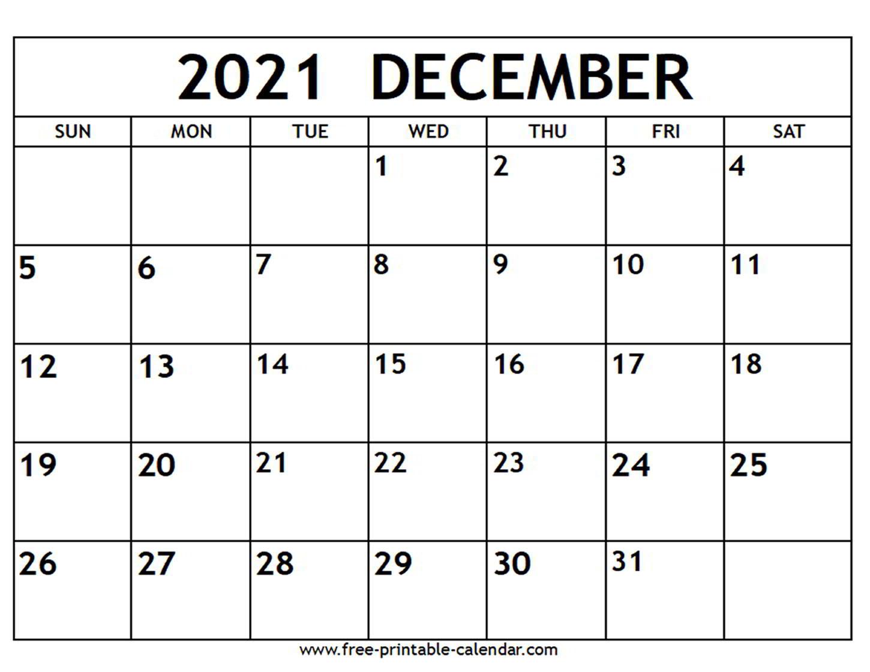 December 2021 Calendar Printable   Example Calendar Printable December Calendar Of 2021