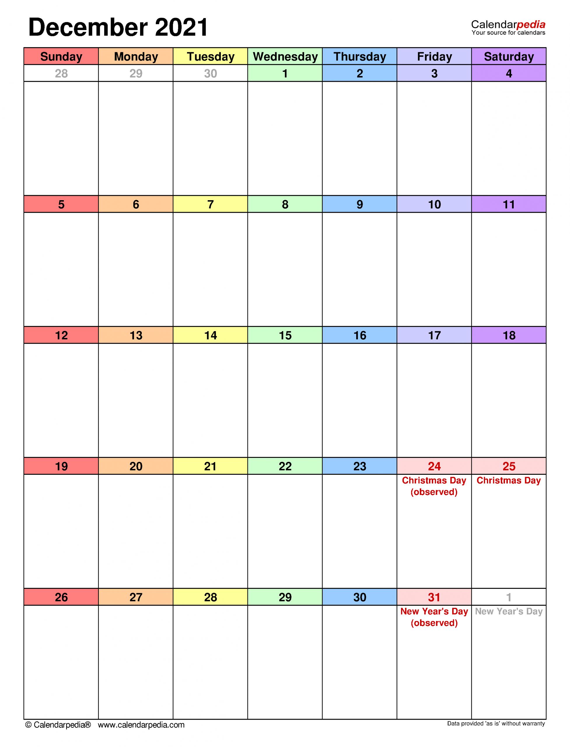 December 2021 Calendar | Templates For Word, Excel And Pdf December 2021 Calendar Printable Free