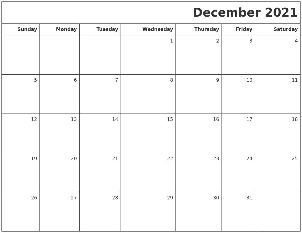 December 2021 Printable Blank Calendar Blank December 2021 Calendar