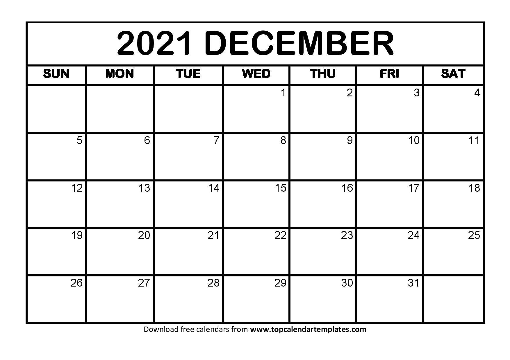 December 2021 Printable Calendar - Monthly Templates December Calendar Of 2021
