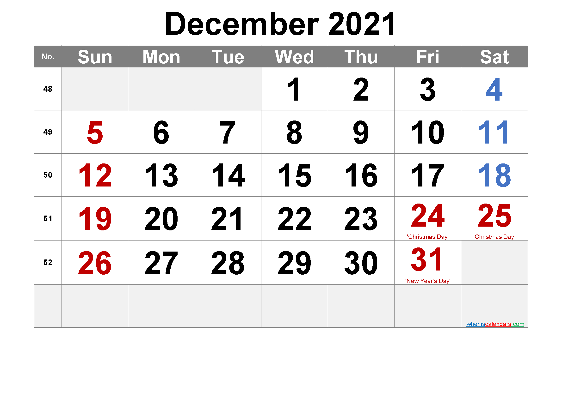 December 2021 Printable Calendar With Holidays - 6 Templates December 2021 Calendar Printable Free