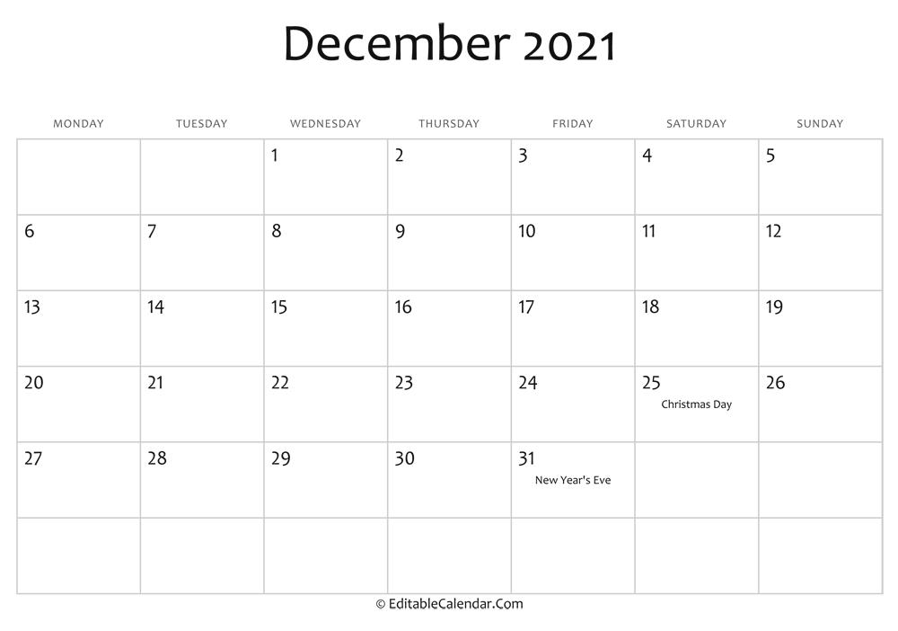 December 2021 Printable Calendar With Holidays Blank December 2021 Calendar