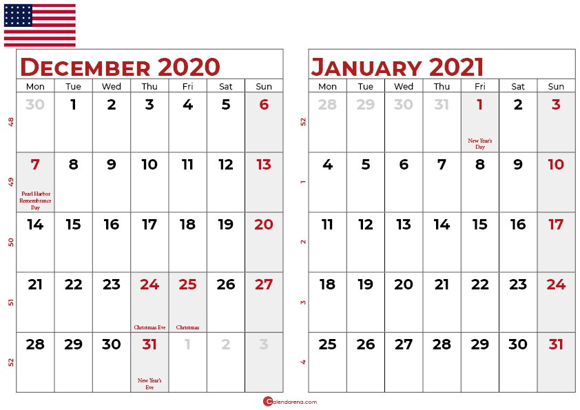 Download Free Calendar For December 2020 And January 2021 December 2020 And Jan 2021 Calendar