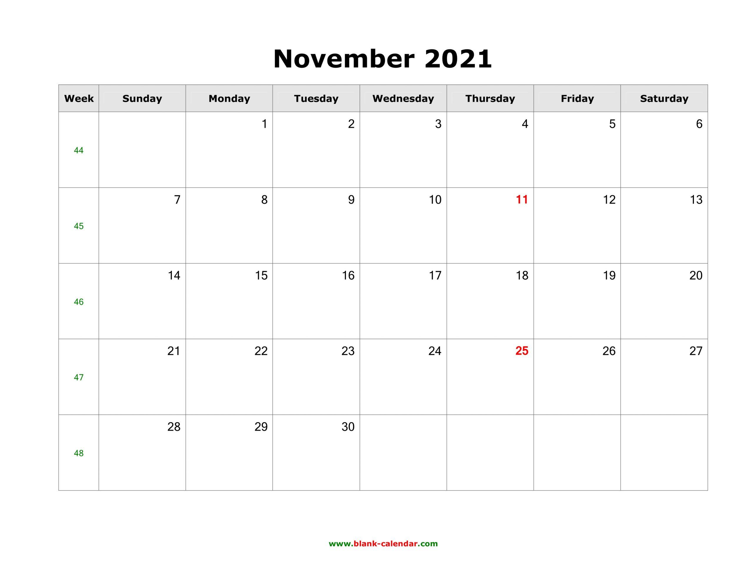 Download November 2021 Blank Calendar (Horizontal) November 2021 Calendar To Print