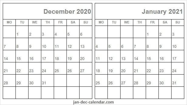 Editable December 2020 January 2021 Calendar - Month Of December 2020 And Jan 2021 Calendar