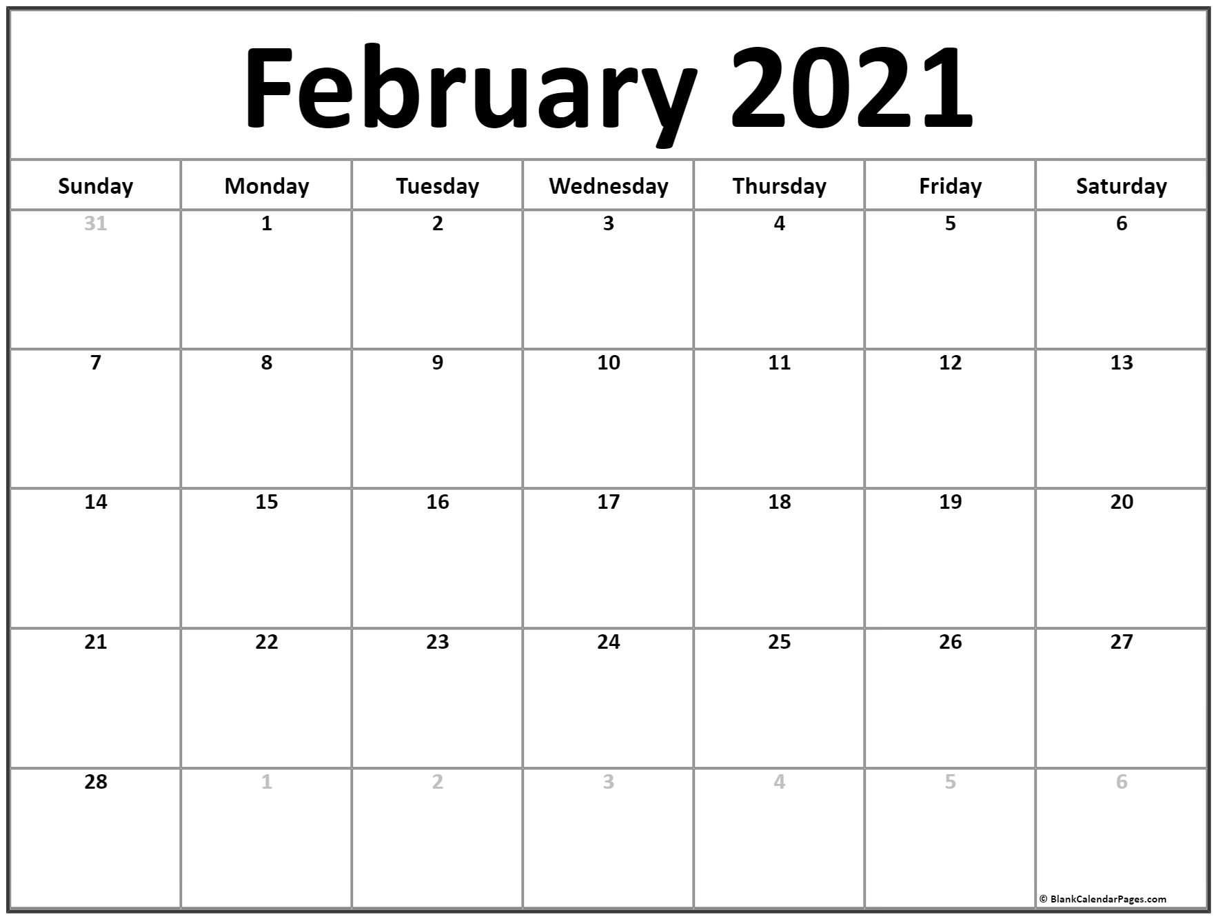 February 2021 Calendar   Free Printable Monthly Calendars Show December 2021 Calendar