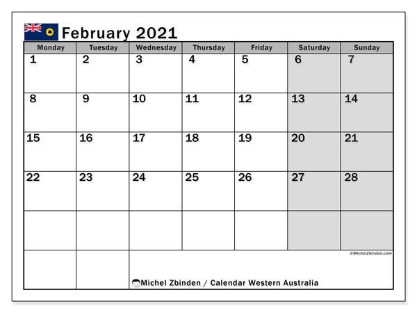 February 2021 Calendar, Western Australia (Australia December 2020 January 2021 Calendar Australia