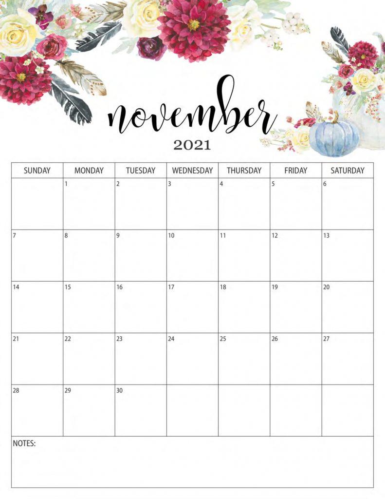 Floral November 2021 Calendar Templates - Printable 2021 November 2021 Calendar To Print