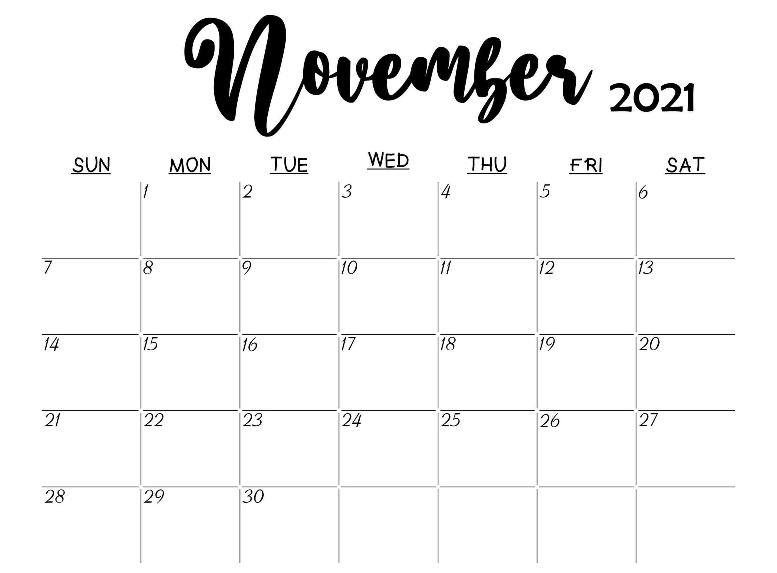 Free Blank November Calendar 2021 Printable Template Pdf November 2021 Calendar To Print