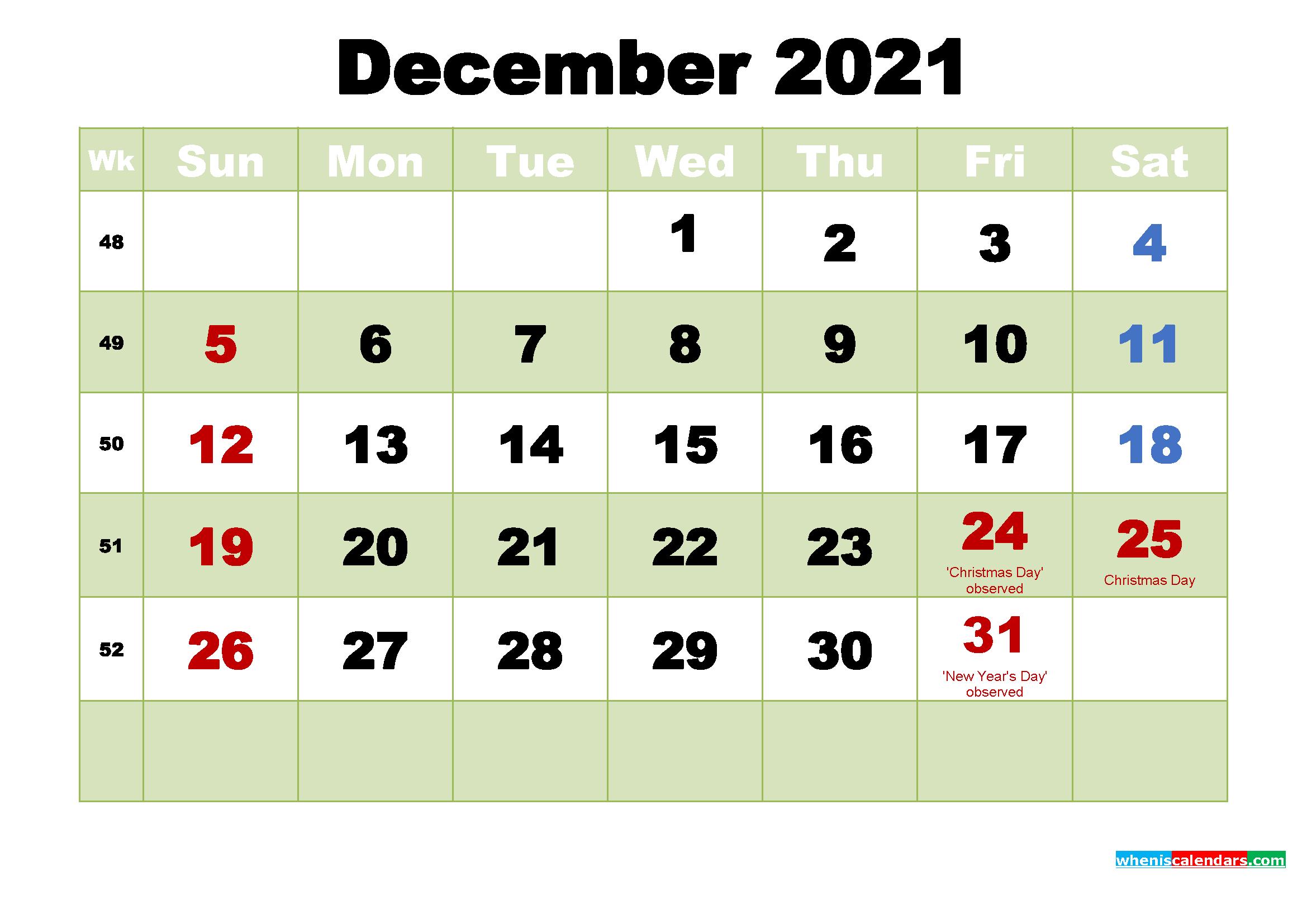 Free December 2021 Printable Calendar Template Word Pdf December 2021 Calendar Printable Free