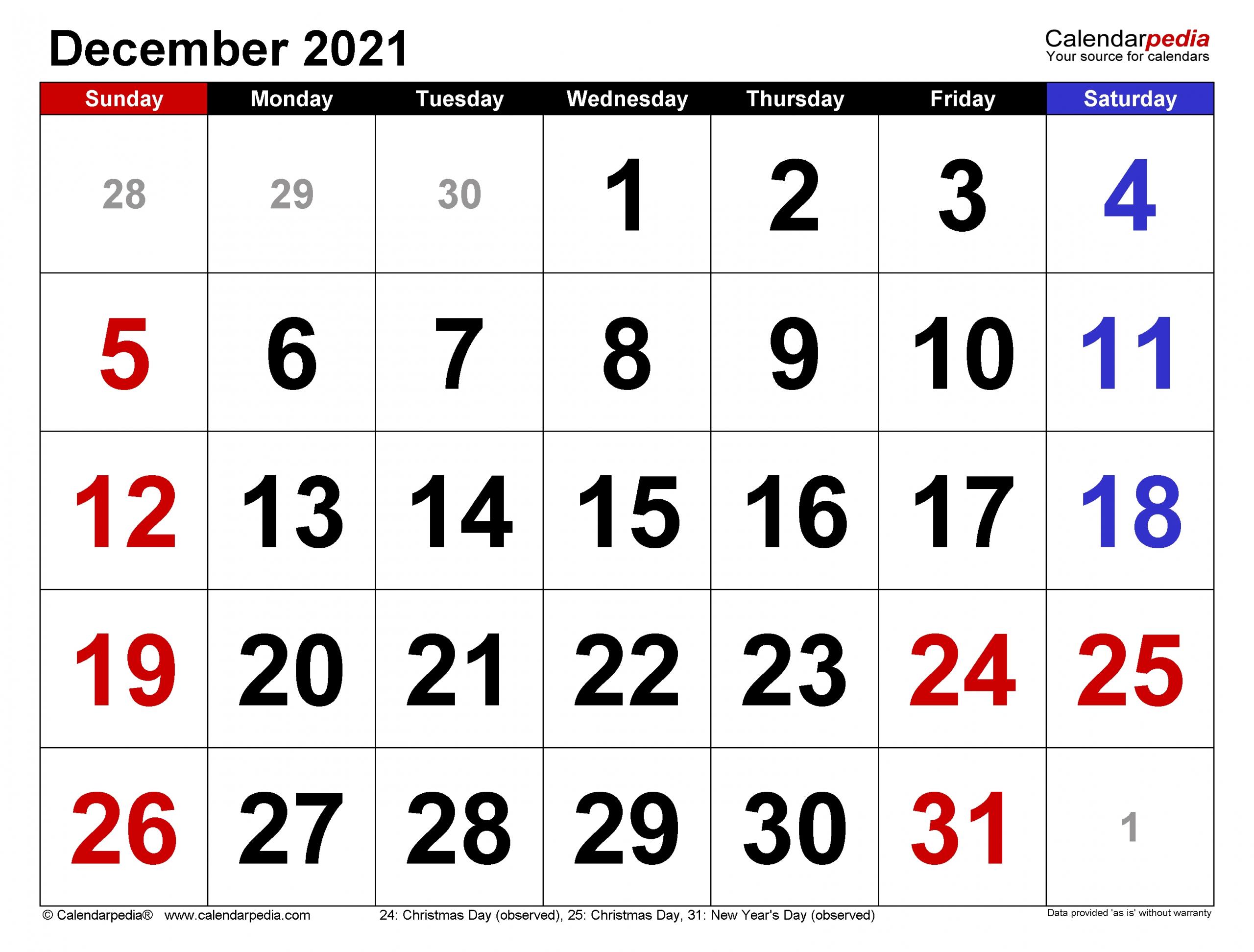 Free Editable December 2021 Calendar | Month Calendar December 2021 Calendar Printable Free