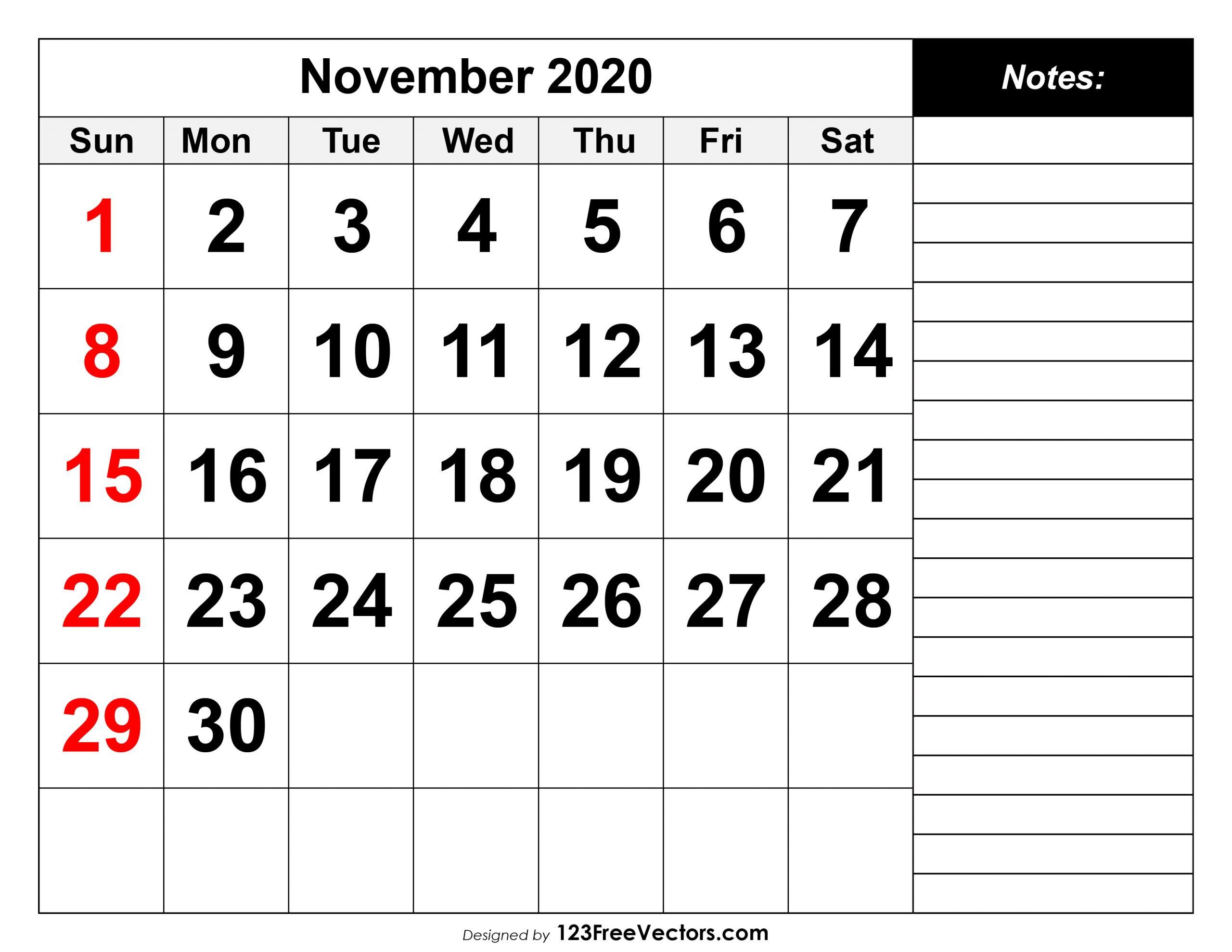 Free November 2020 Printable Calendar Calendar November 2020 Through April 2021