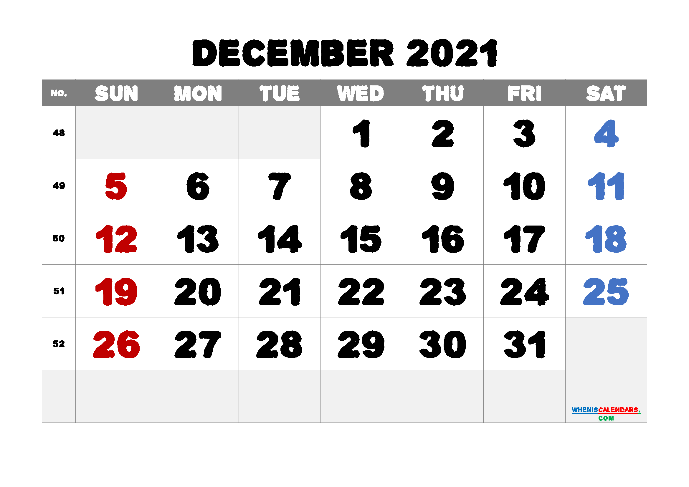 Free Printable December 2021 Calendar December 2021 Calendar Printable Free