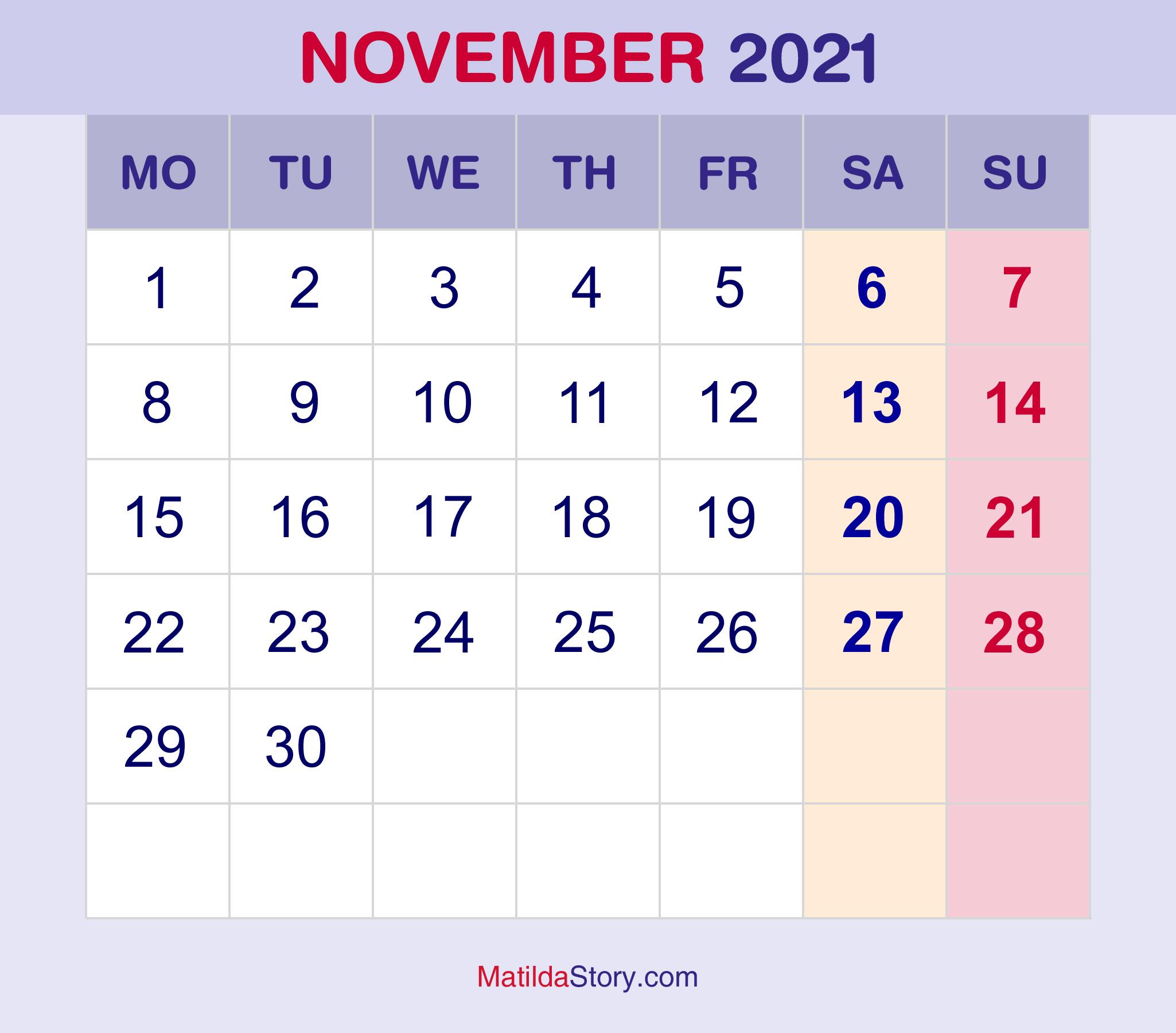Free Printable Montly Pocket Planner 2021   Calendar November 2021 Calendar To Print