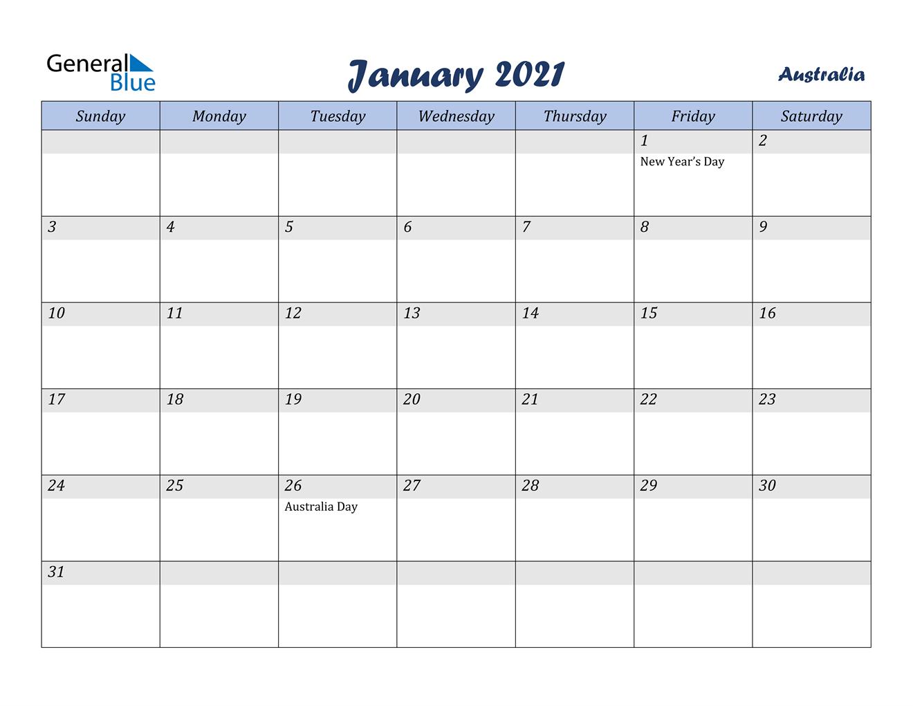 January 2021 Calendar - Australia December 2020 January 2021 Calendar Australia