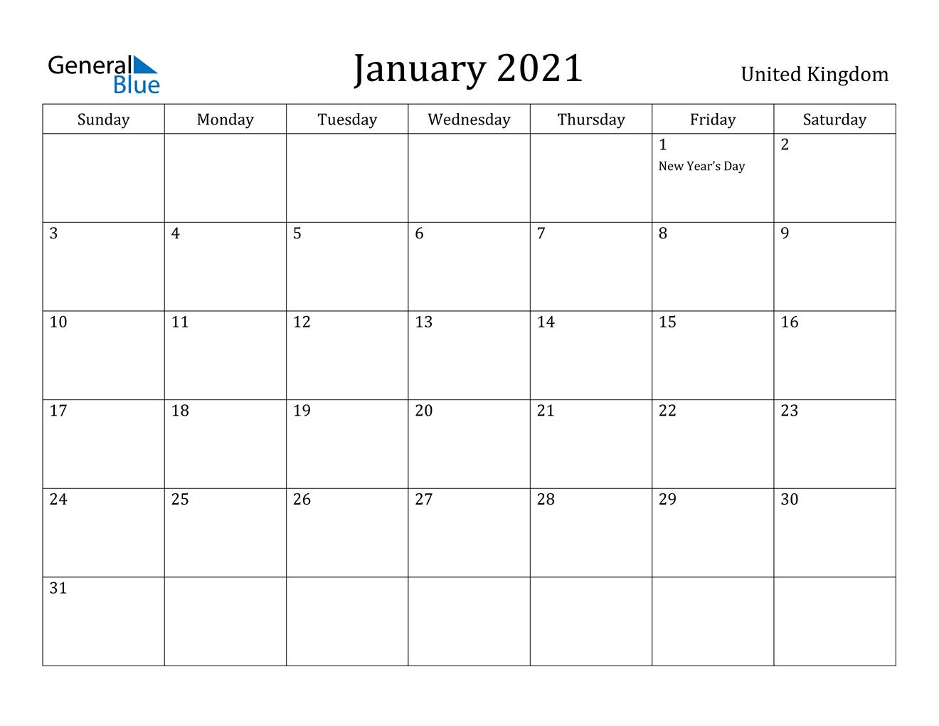 January 2021 Calendar - United Kingdom December 2020 January 2021 Calendar Australia