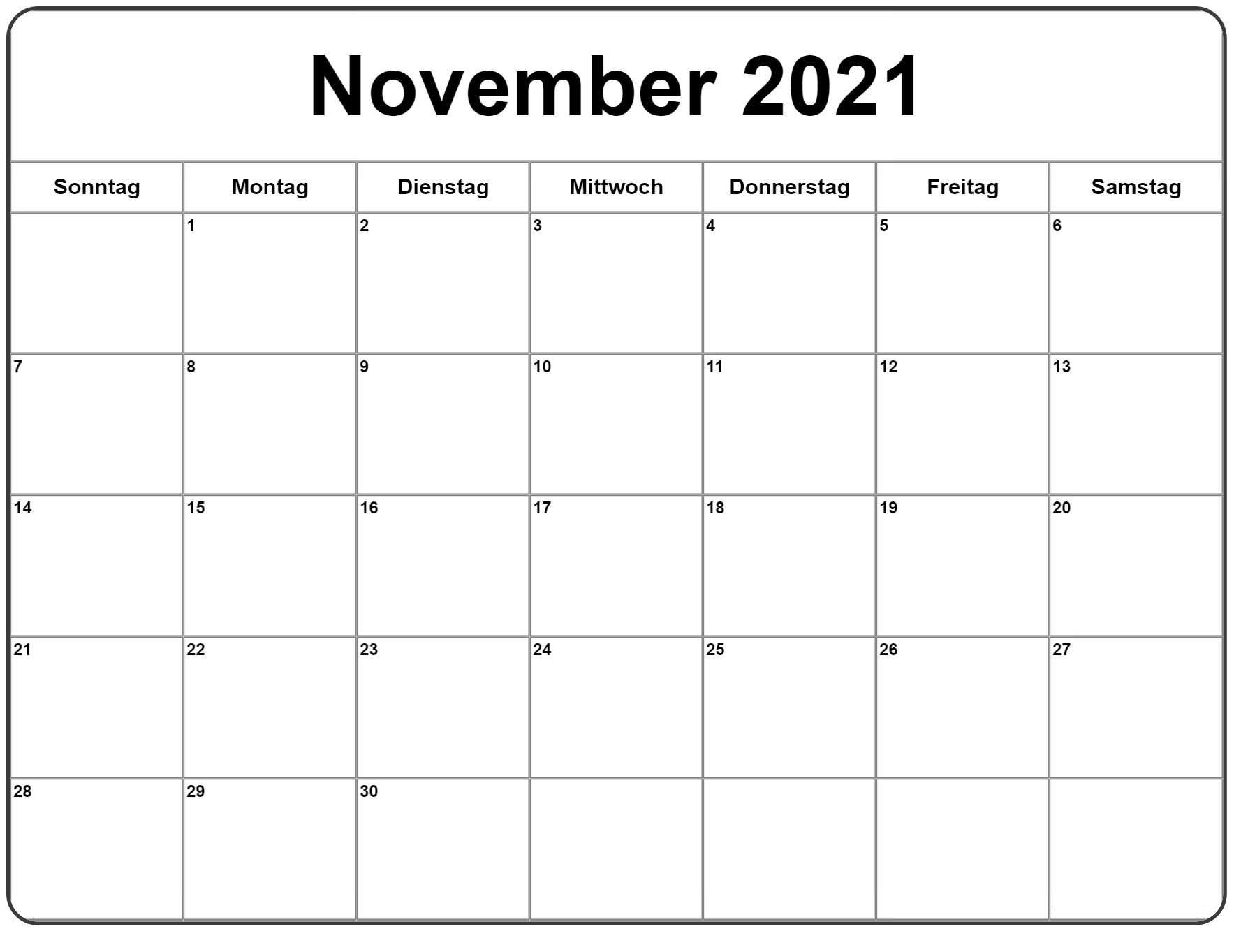 Leer November 2021 Kalender Zum Ausdrucken [Pdf, Excel Calendar November 2020 Through April 2021