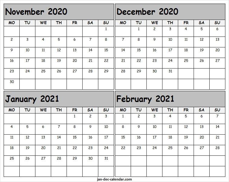 November 2020 To February 2021 Blank Calendar - To Do List Calendar November 2020 Through April 2021