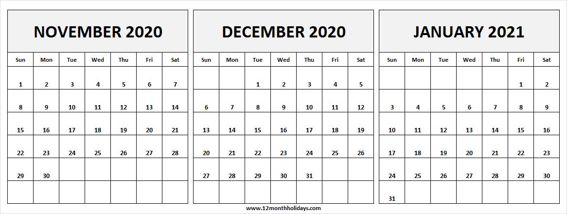 November 2020 To January 2021 Calendar | Black And White December 2020 And Jan 2021 Calendar
