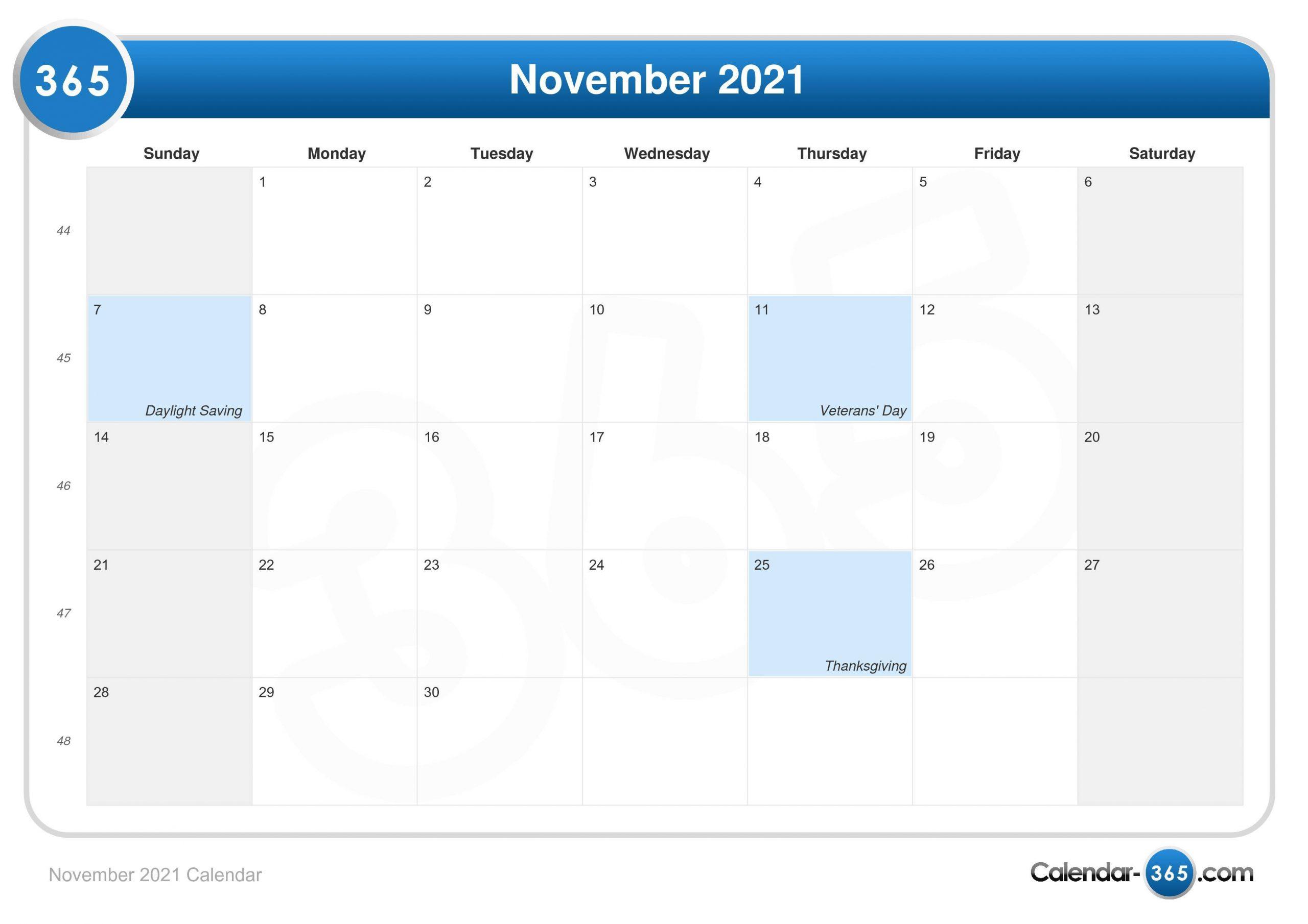 November 2021 Calendar 2021 Ka Calendar November