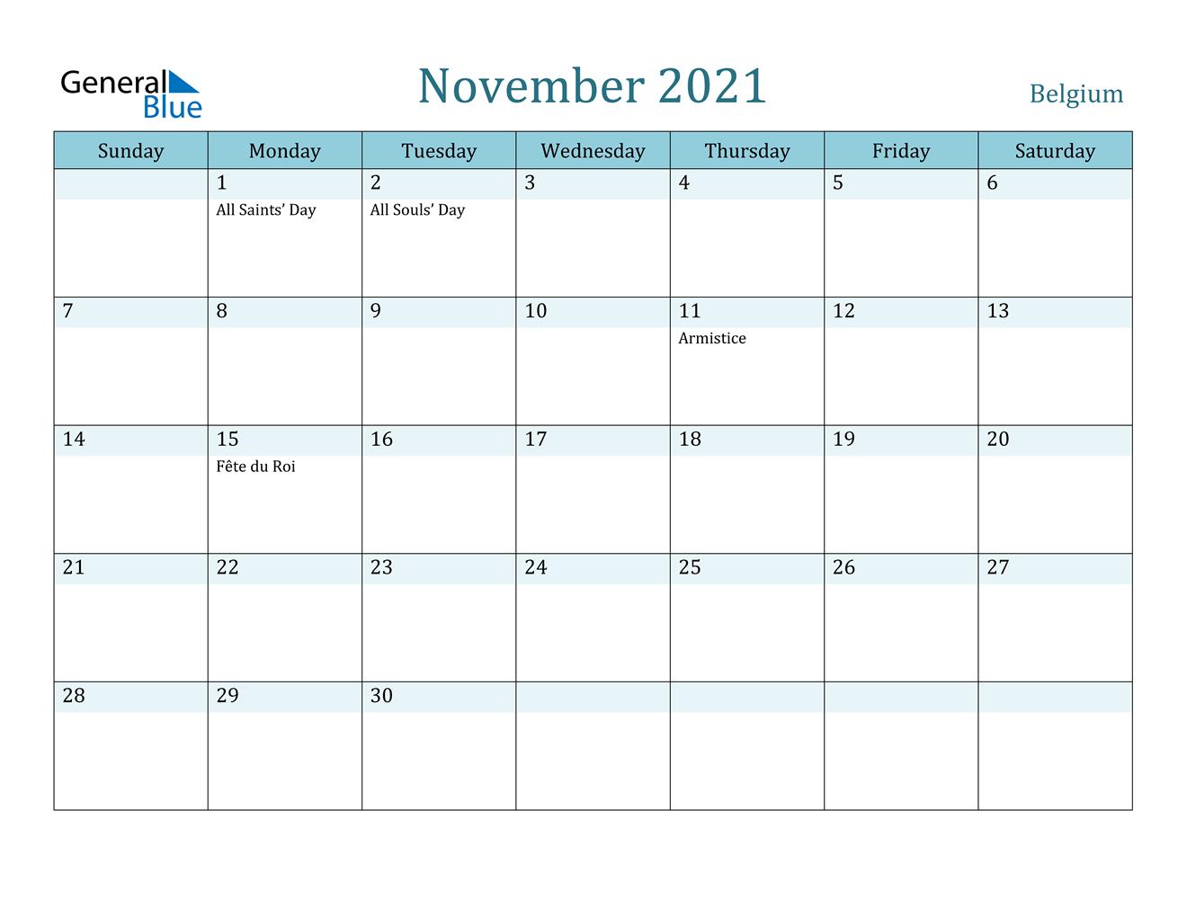 November 2021 Calendar - Belgium 2021 Ka Calendar November