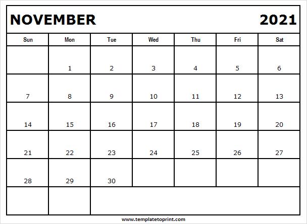 November 2021 Calendar Free - Print Free Calendar 2021 2021 Ka Calendar November