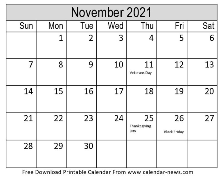 November 2021 Calendar Printable Template | Calendar-News 2021 Ka Calendar November