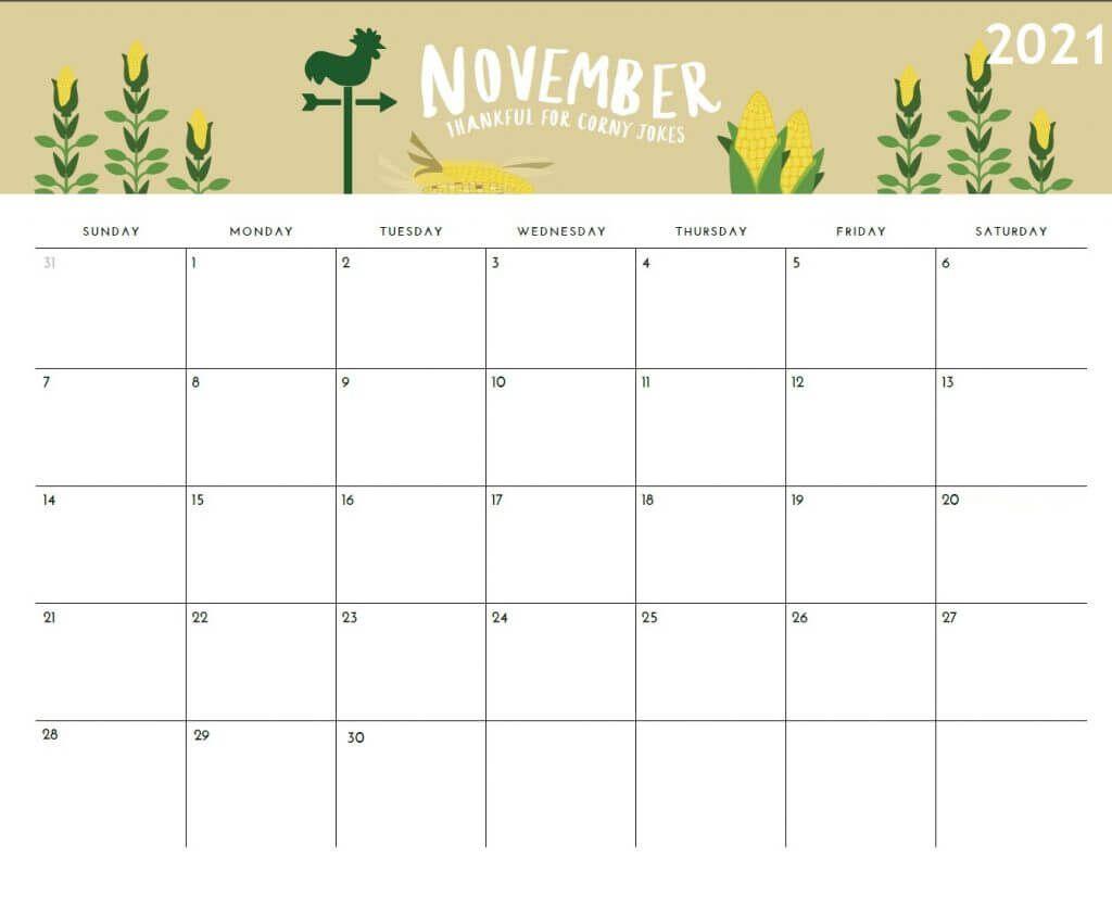 November 2021 Calendar Template - Yearmon 2021 Ka Calendar November