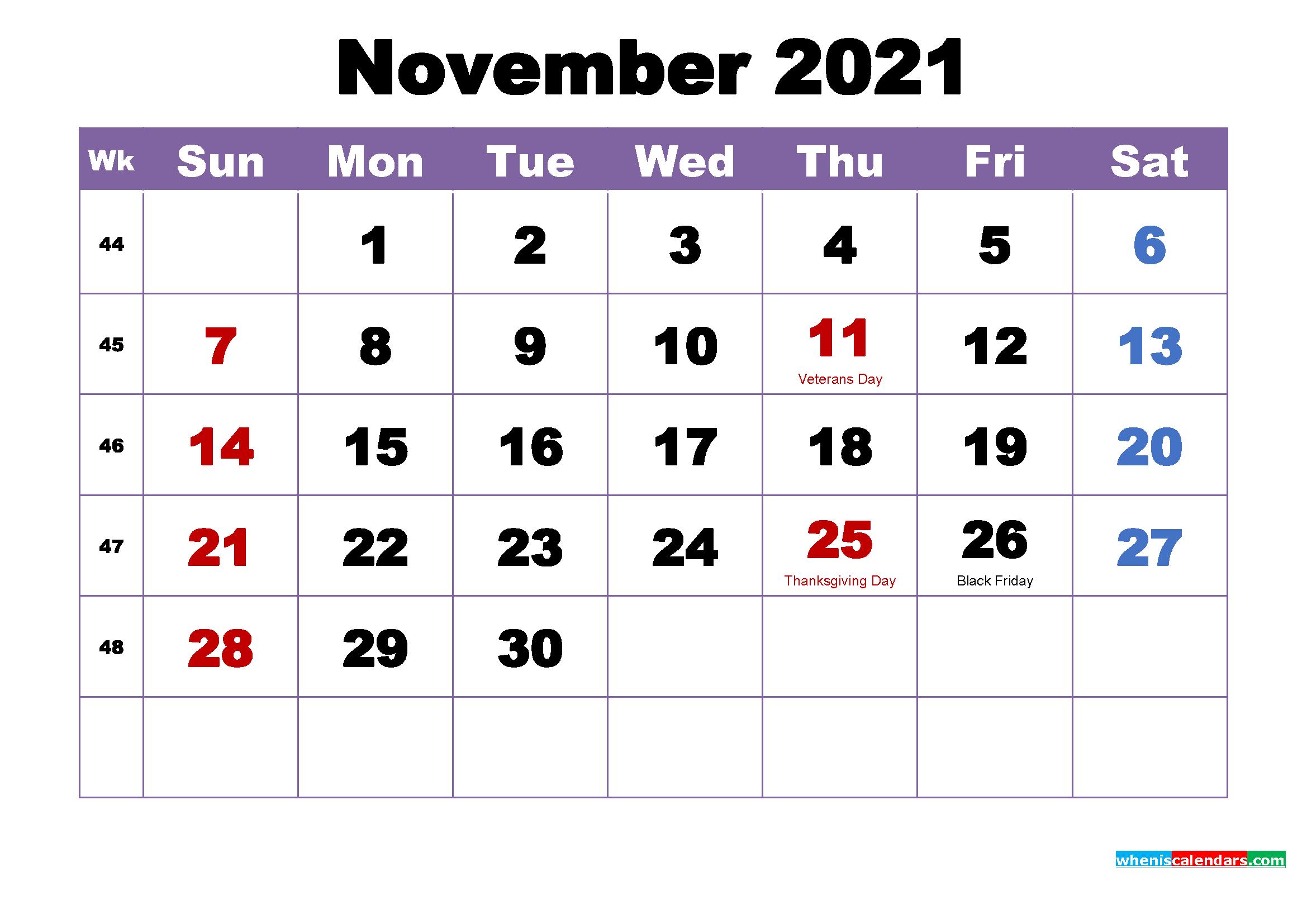 November 2021 Calendar With Holidays Printable   2022 Calendar November 2021 Calendar To Print