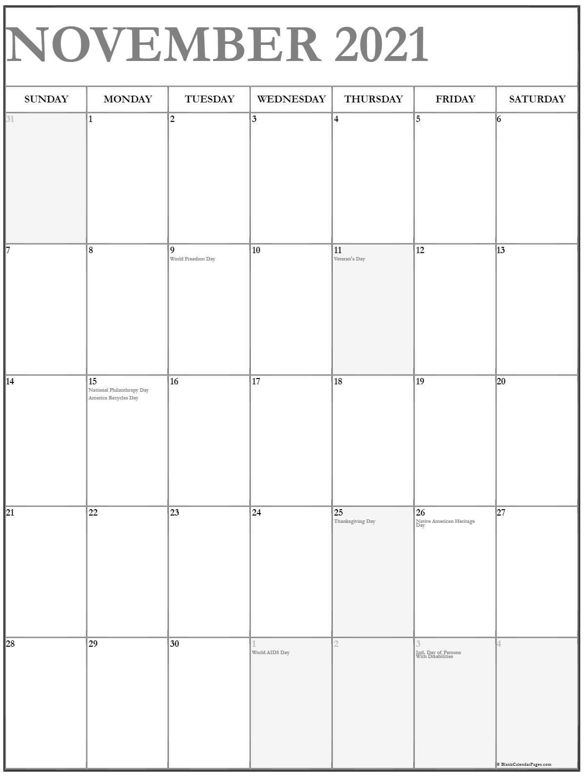 November 2021 Vertical Calendar | Portrait Calendar November 2020 Through April 2021
