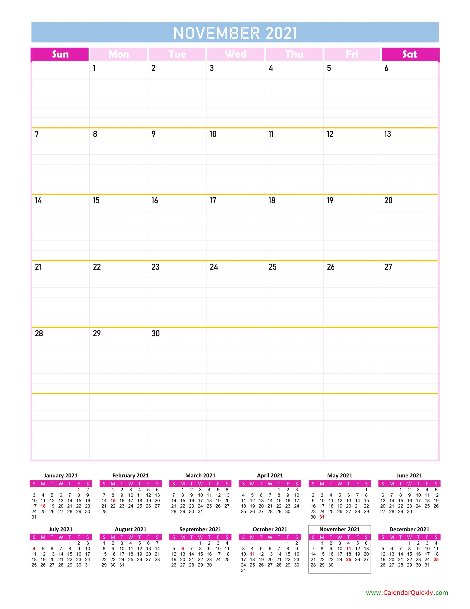 November Calendar 2021 Vertical | Calendar Quickly 2021 Ka Calendar November