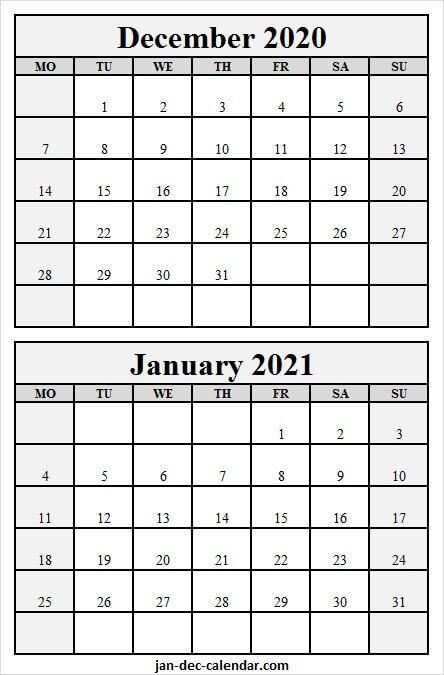 Print December 2020 January 2021 Calendar - Blank Calendar Blank December 2021 Calendar