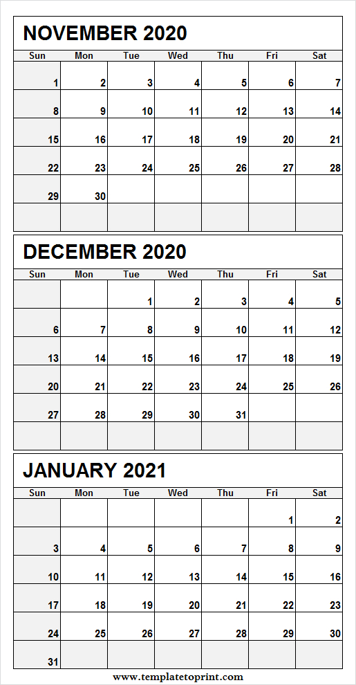 Print Free November 2020 To January 2021 Calendar - 3 December 2020 And Jan 2021 Calendar