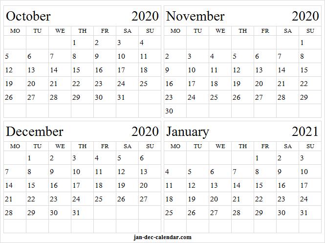 Print October 2020 To January 2021 Calendar - Template To December 2020 January 2021 Calendar Australia