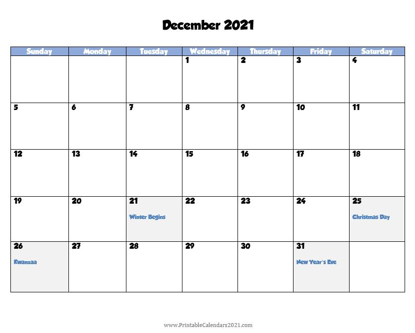 Printable Calendar December 2021, Printable 2021 Calendar December Calendar Of 2021