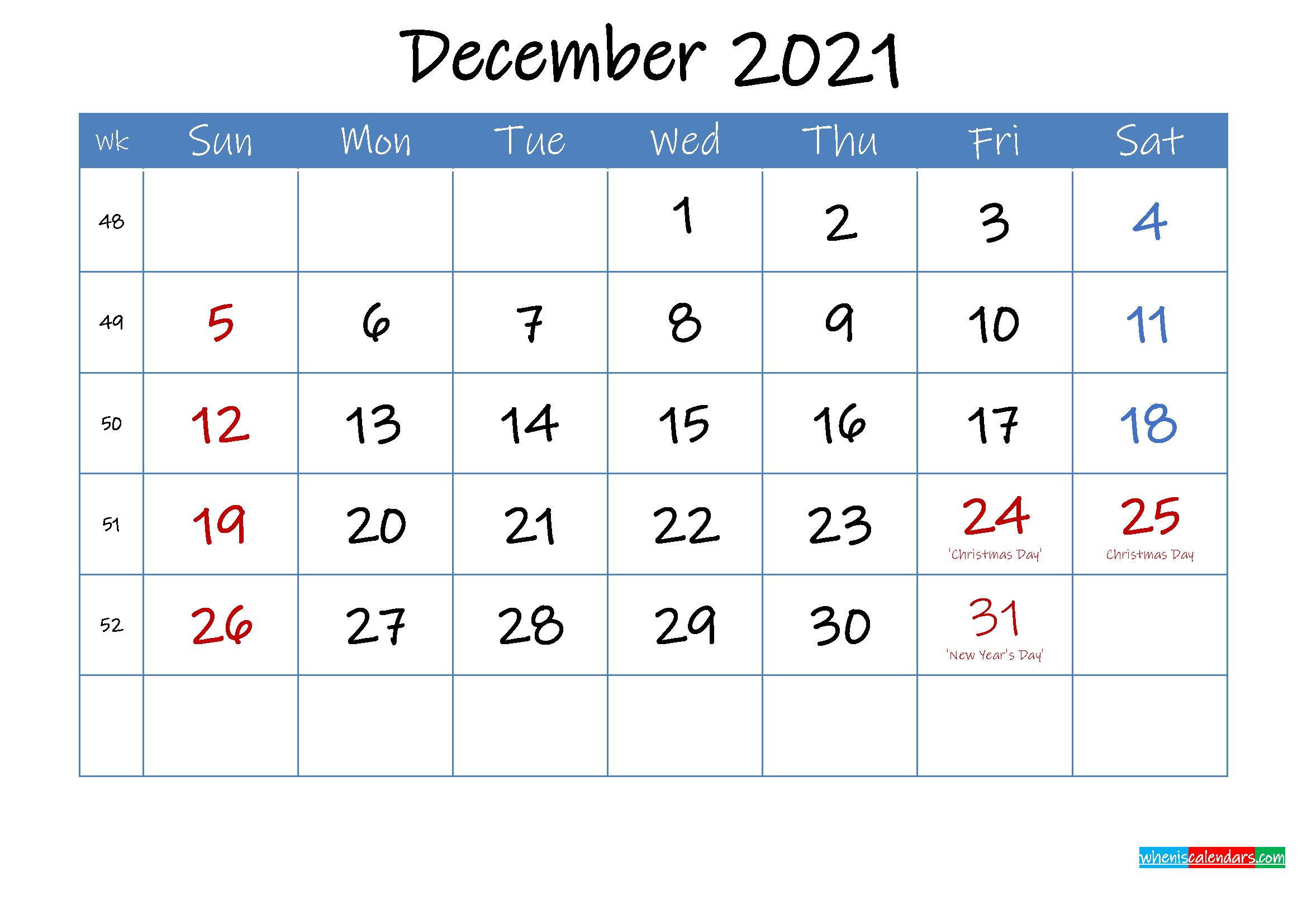 Printable December 2021 Calendar Word - Template Ink21M24 December 2021 Calendar Printable Free