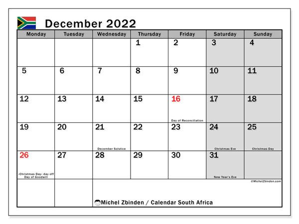 "Printable December 2022 ""South Africa"" Calendar - Michel December 2021 Calendar With Holidays South Africa"